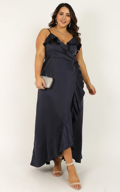 Wrapped up dress in navy - 18 (XXXL), Navy, hi-res image number null