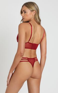 Kat The Label - Elixir Lace Thong in Berry