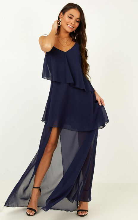 Flounce Maxi Dress in navy