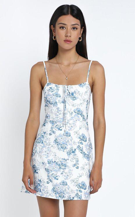 Antonia Dress in Blue Floral