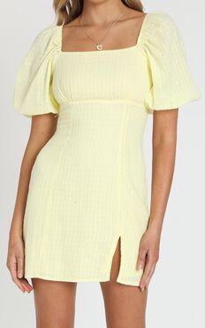 Electric Babe Dress in Lemon