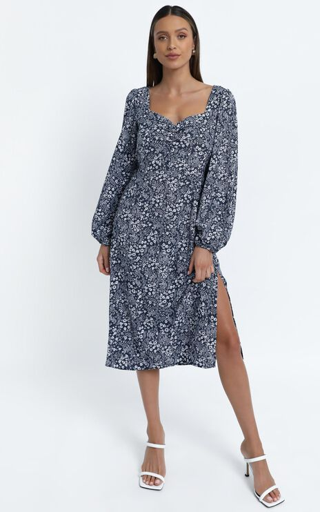 Amare Dress in Navy Floral