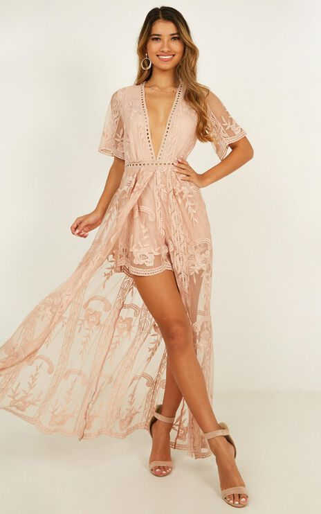 Lets Get Loud Maxi Playsuit in Blush Lace