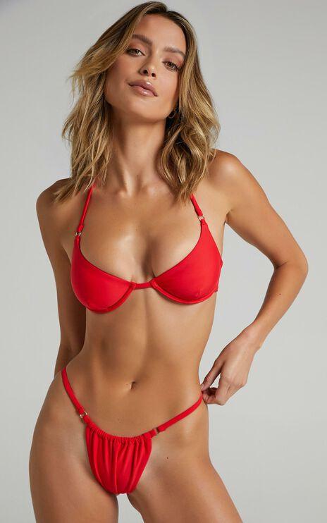 Twiin - New Era Skimpy String Bikini Bottoms in Red