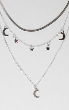 Cosmo Layered Necklace in Silver