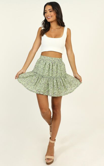 Seek Me Out skirt in green floral - 18 (XXXL), Green, hi-res image number null