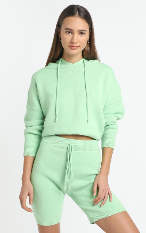 Cosy Club Knit Hoody in Mint