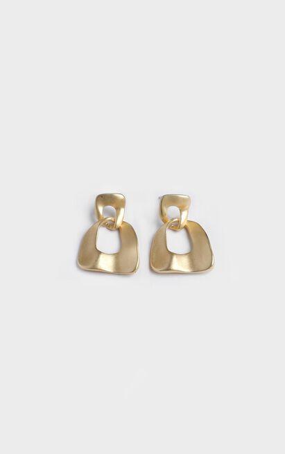 Hammered Hoop Earrings In Gold, , hi-res image number null