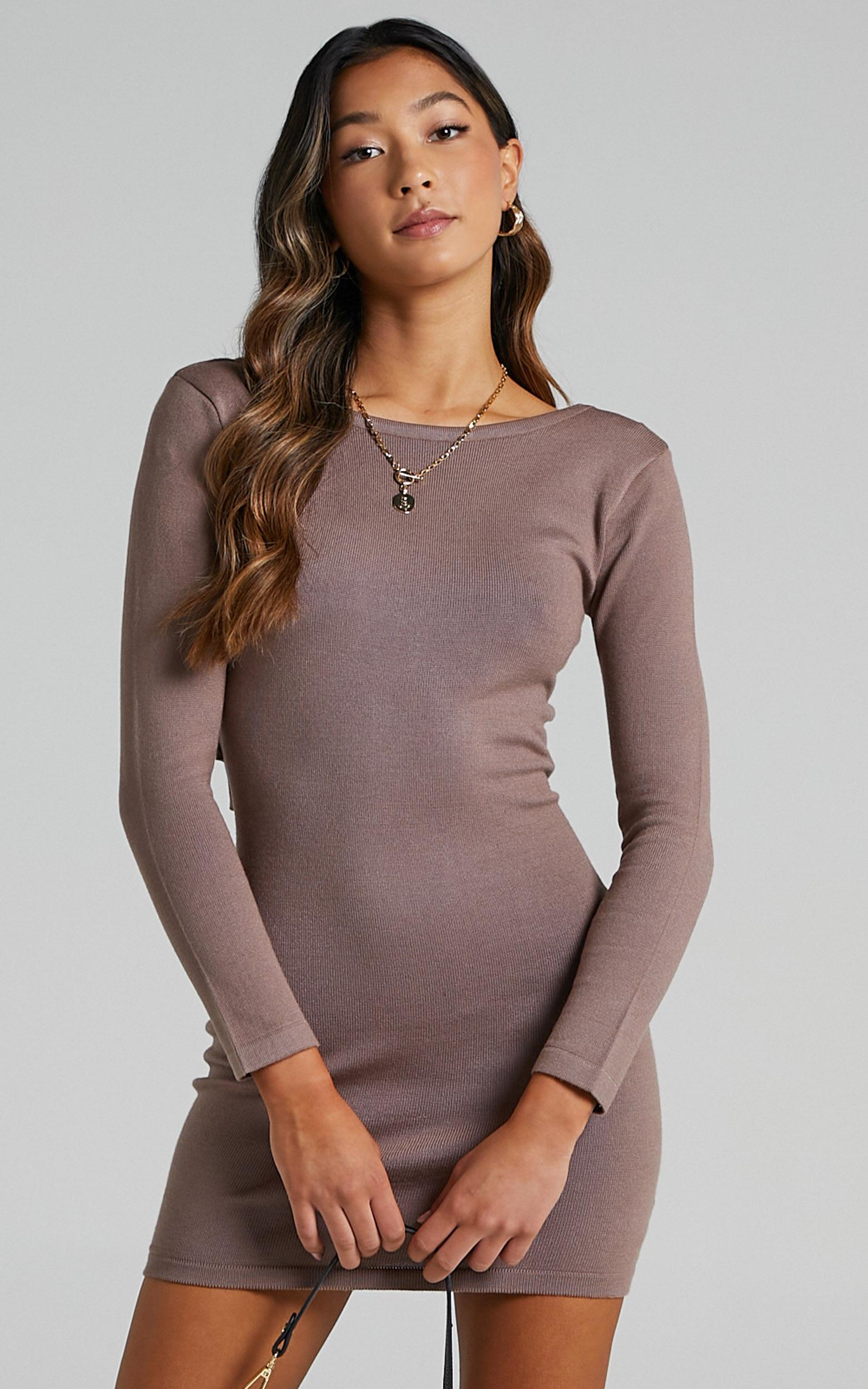 Sonya Knit Dress in Mocha - L, BRN1, super-hi-res image number null