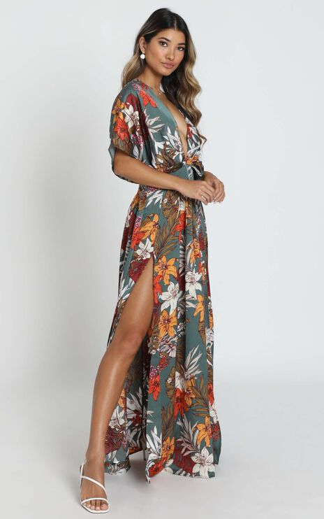 Vacay Ready Maxi Dress in Teal Floral Satin