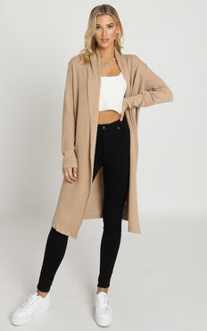 Strong Spirited Knit Coat In Camel