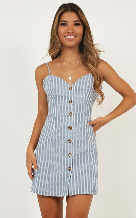 Thermal Spring Dress In Blue Stripe