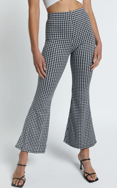 Angelina Flare Pants in Black Check