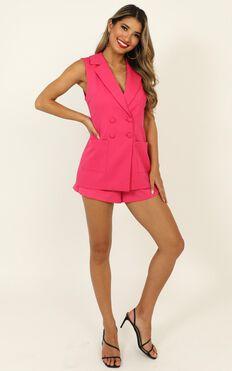 Daily Summary Blazer Vest In Hot Pink