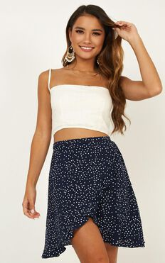 Started With A Kiss Skirt In Navy Spot