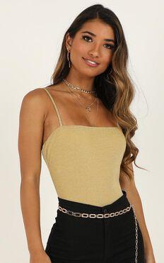 Stop Starring Bodysuit In Gold Lurex