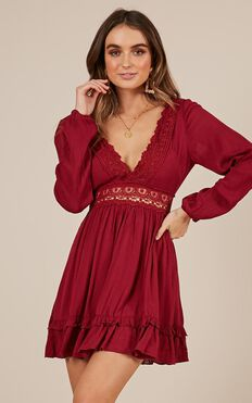 Sweet Lady Dress In Wine