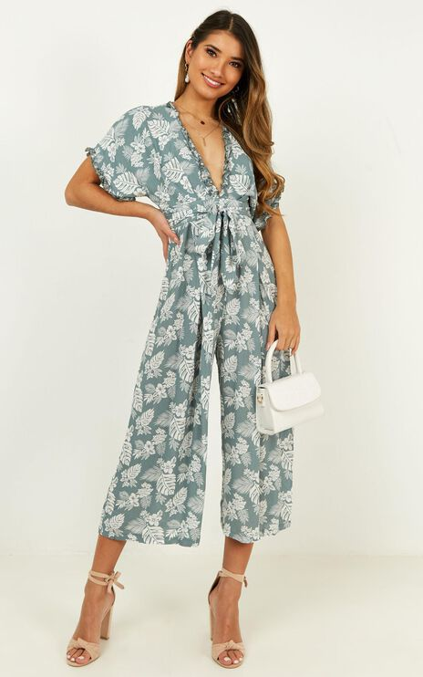 Just Your Memory Jumpsuit In Sage Floral