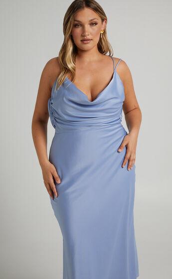 Soft Petal Cowl Crossover Back Midi Dress in Cornflower Blue