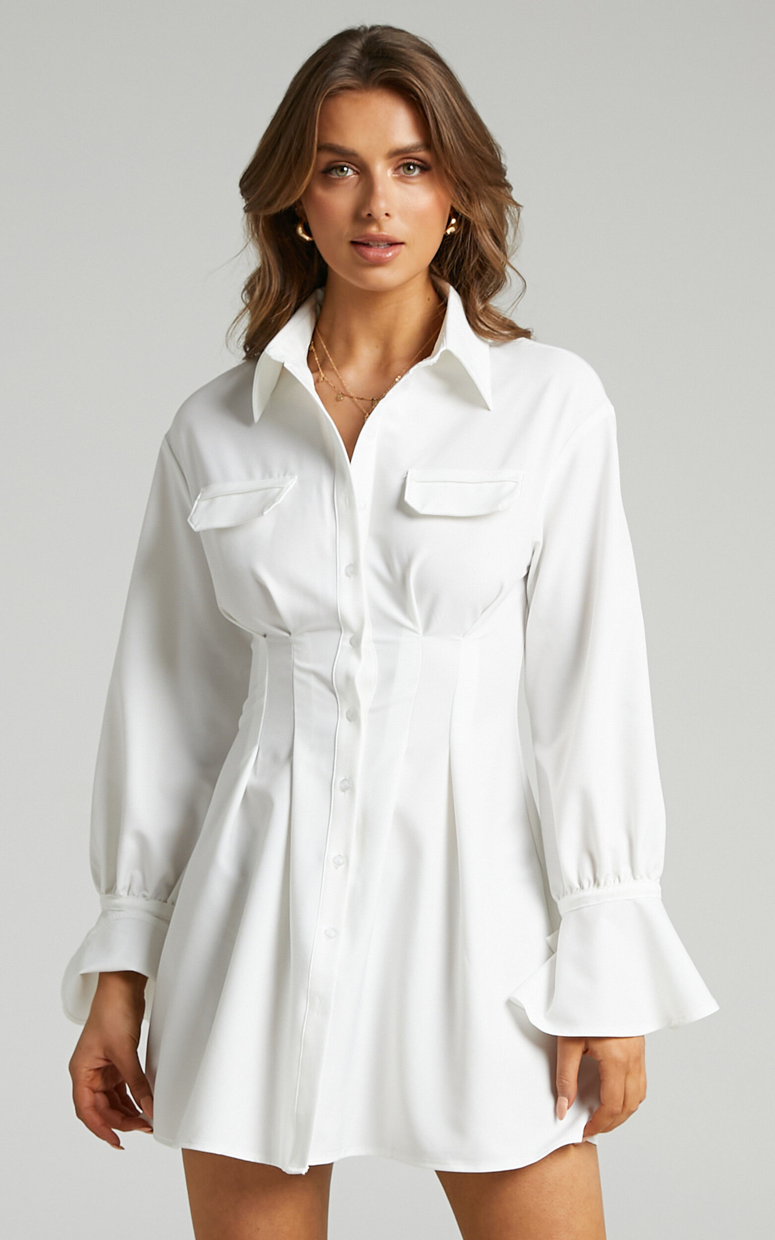 Romi Cuffed Long Sleeve Shirt Dress with Cinched Waist in White - 06, WHT1, super-hi-res image number null