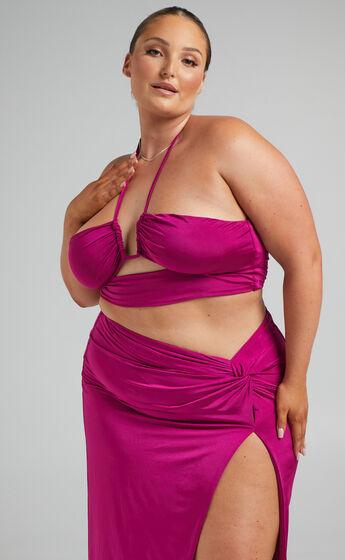 Forrest Halter Neck Top Twist Midi Skirt Two Piece Set in Berry