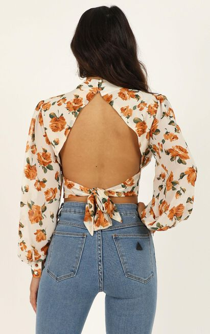 Things I Do top in white floral - 20 (XXXXL), Cream, hi-res image number null