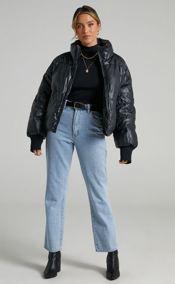 Fergo Puffer Jacket in Black Leatherette