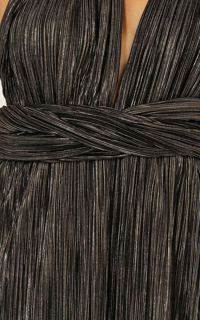 I Just Wanna Live Tonight Dress in metallic pleats - 14 (XL), Black, hi-res image number null
