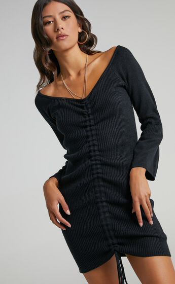 Susie Ruched Front Knit Dress in Black