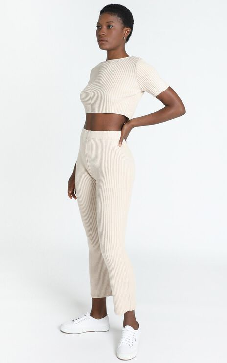 Mylah Two Piece Knit Set in Beige