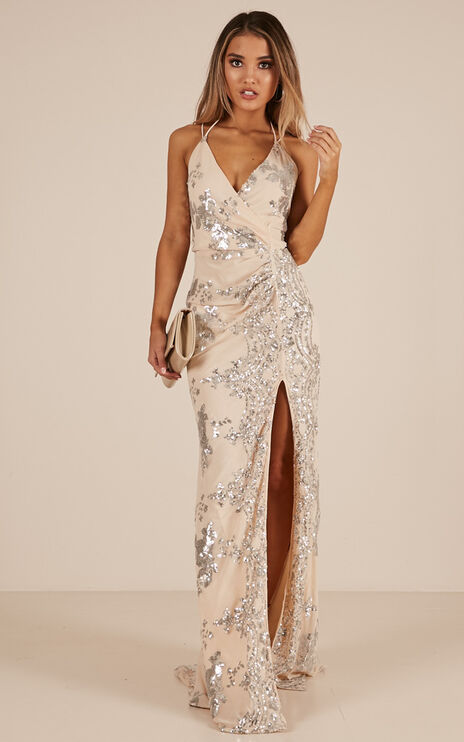 First Dance Maxi Dress In Silver Sequin