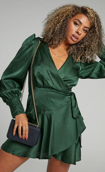 Breeana Wrap Mini Dress in Emerald