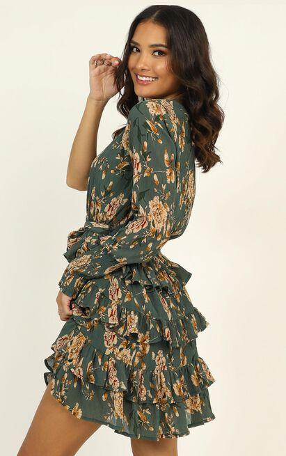 Hold Me Forever Dress in green floral - 14 (XL), Green, hi-res image number null