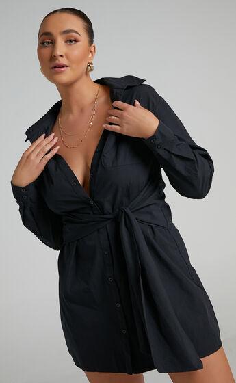 Macie Tie Front Shirt Mini Dress in Black