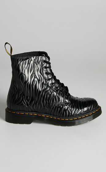 Dr. Martens - 1460 Pascal 8 Eye Boot in Black Zebra Gloss Emboss Smooth