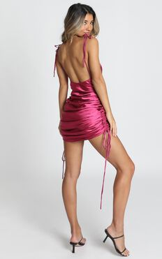 Lioness - String Along dress In Berry Satin