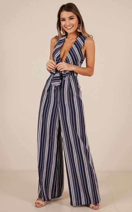 On A High Jumpsuit In Navy Stripe