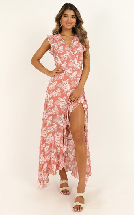 Curating Love Maxi Dress In Coral Floral