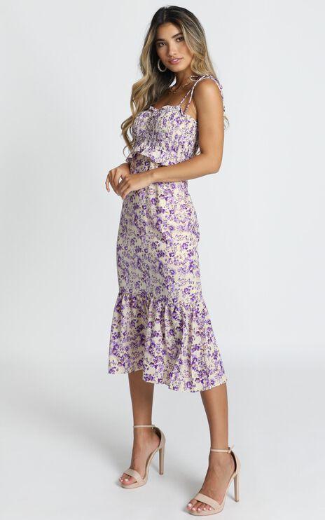 Merrill Shirred Midi Dress In Purple Floral