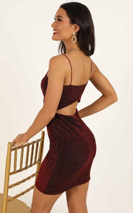 No Where To Turn Dress In Wine Lurex