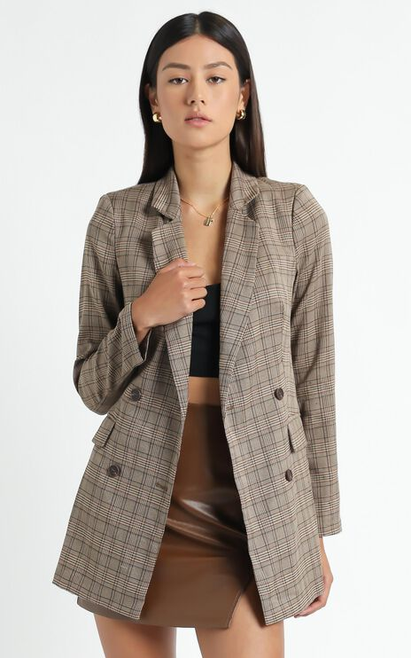 Sort It Out Blazer In Brown Check