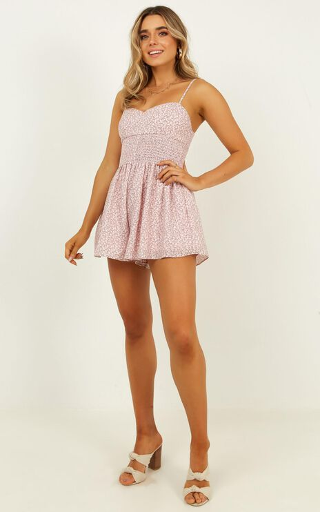 First Thought Playsuit In Blush Floral