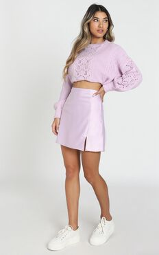 Mini Slip Skirt In Lilac Satin