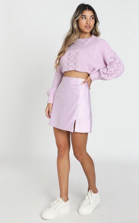 Mini Slip Skirt In Lilac Satin