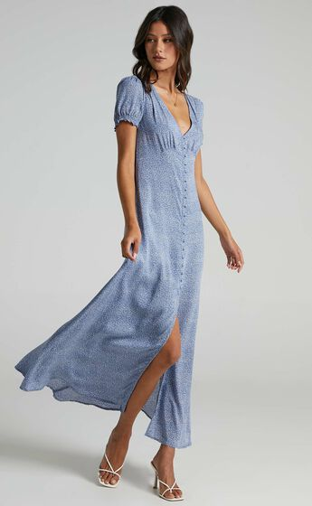 Flaming Hot Button Up V Neck Maxi Dress in Blue Floral