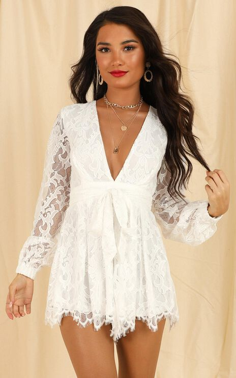Come Go With Me Playsuit In White Lace