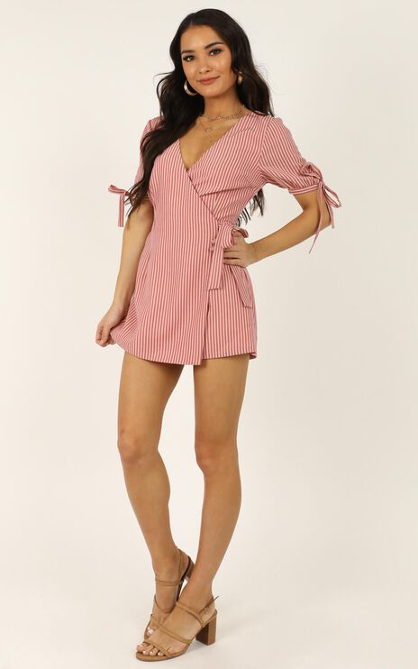 Life Is Great Playsuit In Blush Stripe