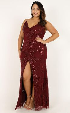 Long Line Of Love Dress In Wine Sequin