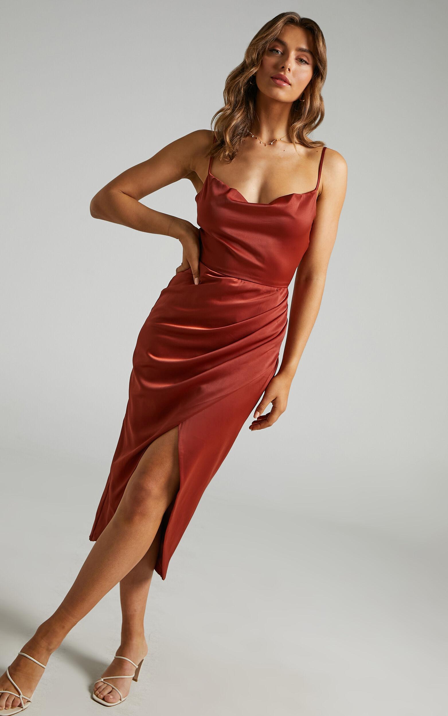 Dazzling Lights Dress in Copper Satin - 06, BRN1, super-hi-res image number null