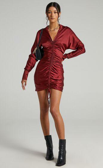 Cordyline Dress in Wine Satin